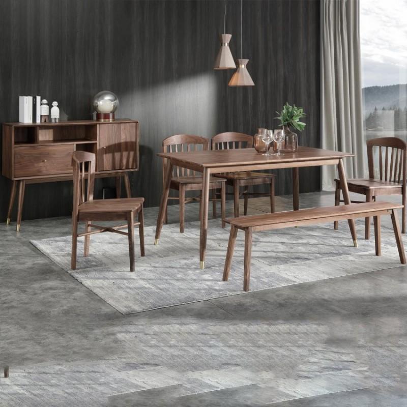 优木良匠黑胡桃北欧风格餐厅餐桌椅餐边柜