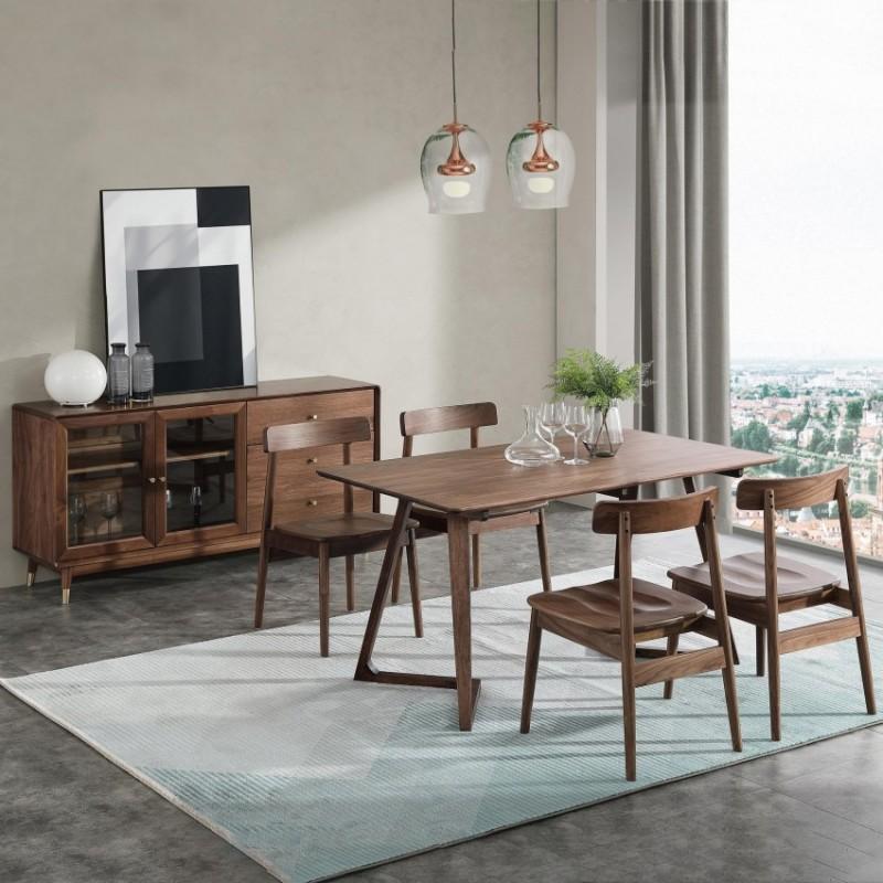 优木良匠黑胡桃北欧风格餐厅餐桌椅餐边柜1