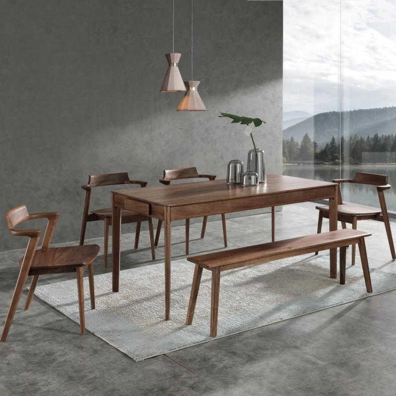 优木良匠黑胡桃北欧风格餐厅餐桌椅餐边柜5