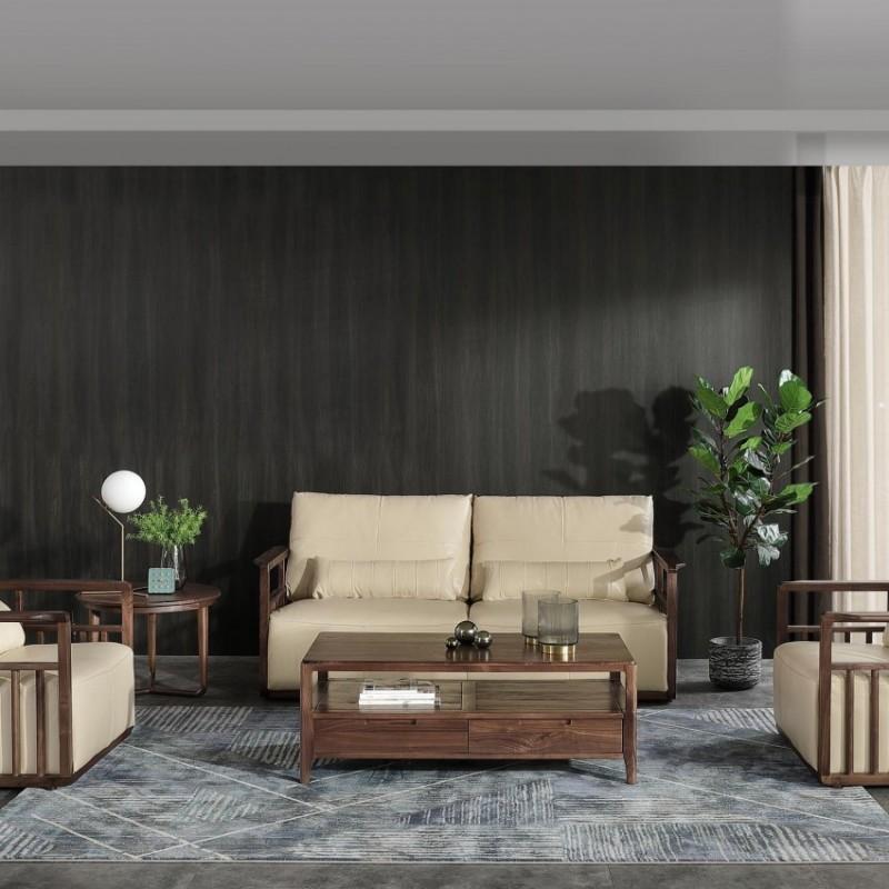 优木良匠黑胡桃北欧风格客厅沙发组合茶几