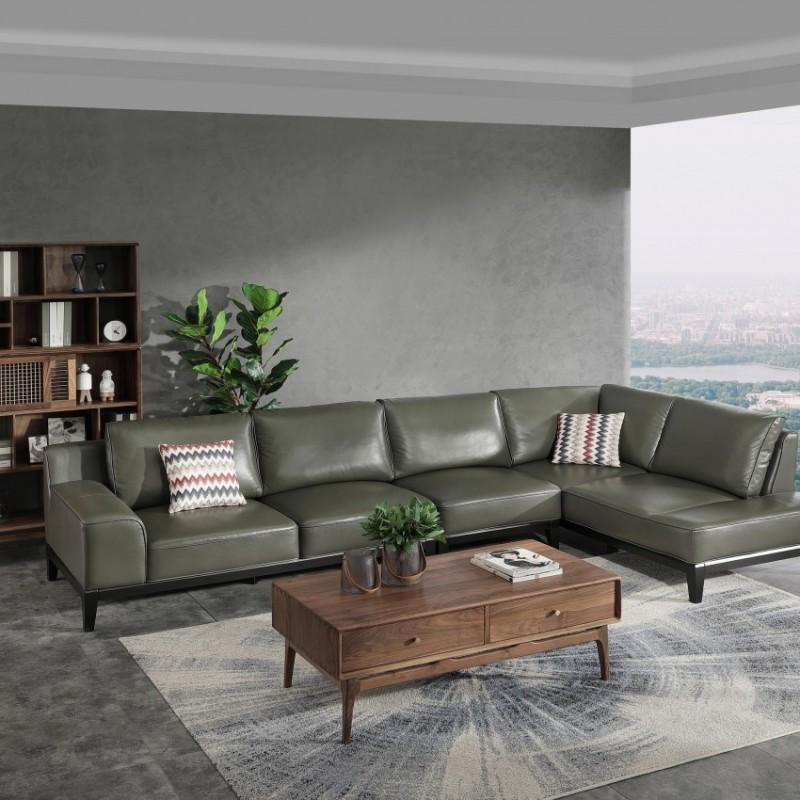 优木良匠黑胡桃北欧风格客厅沙发组合茶几1