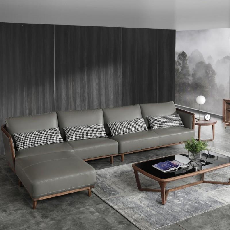 优木良匠黑胡桃北欧风格客厅沙发组合茶几2