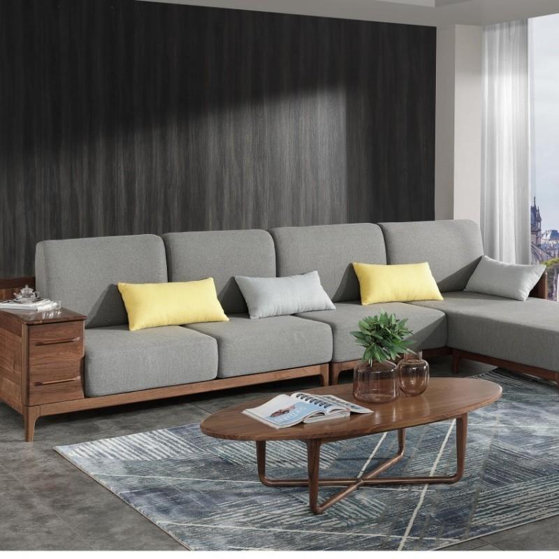 优木良匠黑胡桃北欧风格客厅沙发组合茶几3