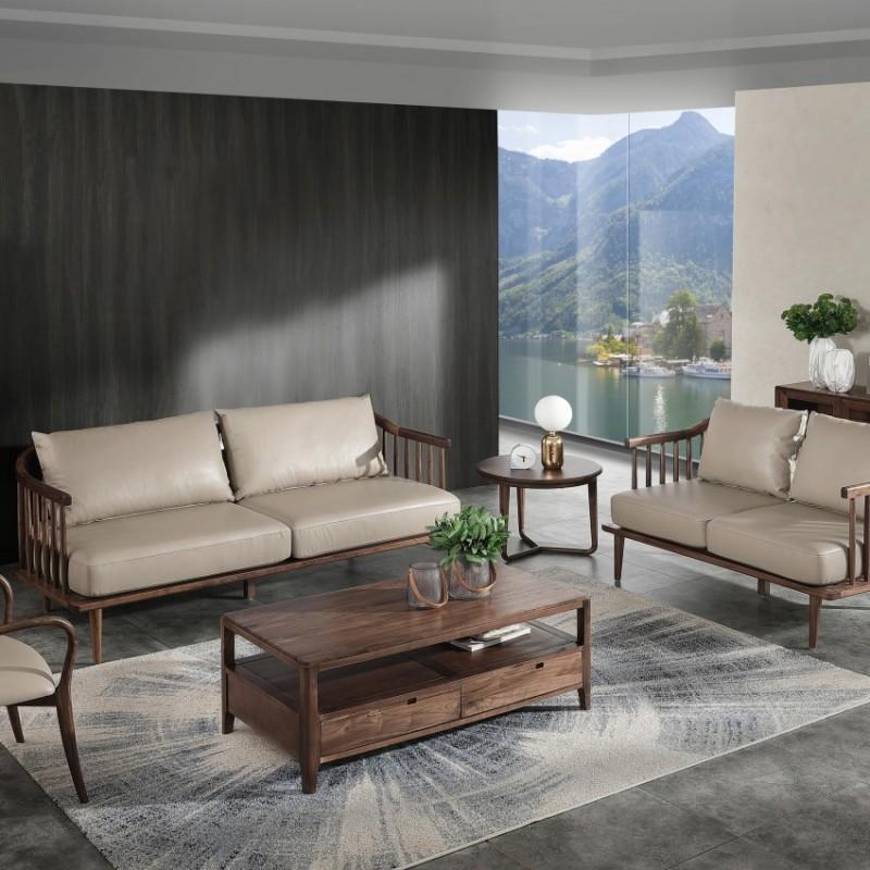优木良匠黑胡桃北欧风格客厅沙发组合茶几5