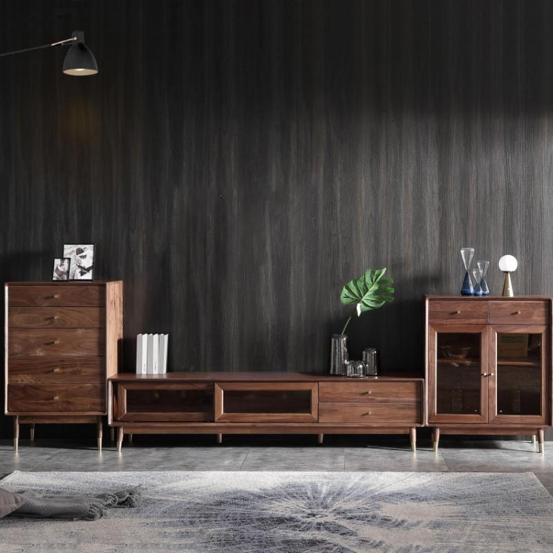 优木良匠黑胡桃北欧风格客厅组合电视柜1