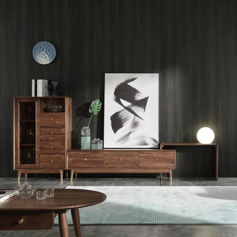 优木良匠黑胡桃北欧风格客厅组合电视柜2