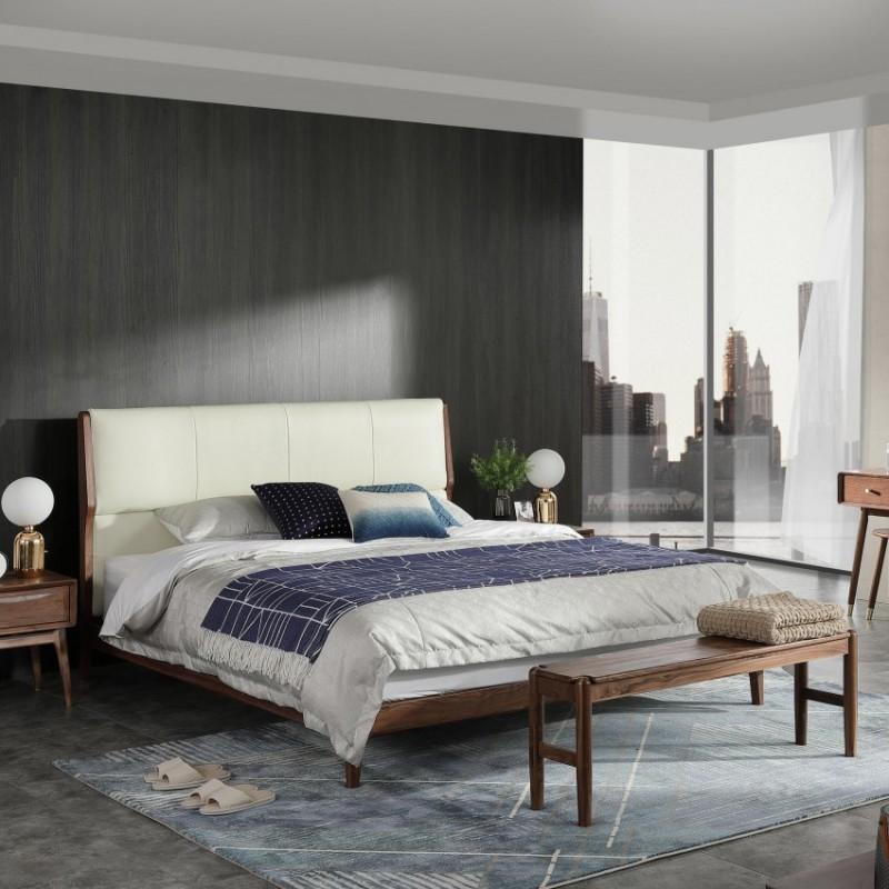 优木良匠黑胡桃北欧风卧房套实木大床床头柜床尾凳衣柜2