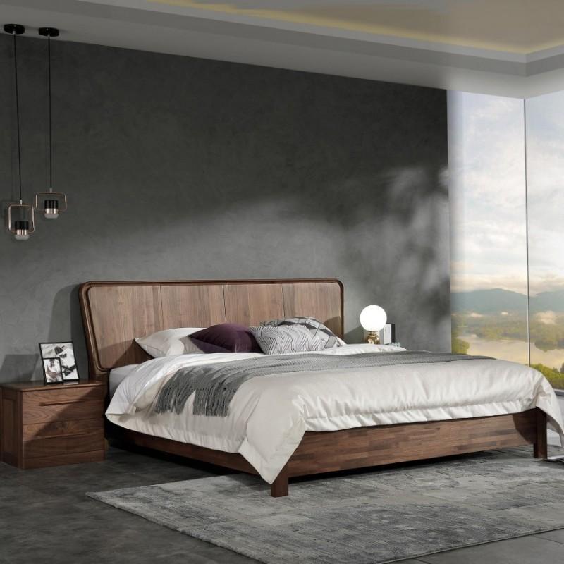 优木良匠黑胡桃北欧风卧室实木大床床头柜