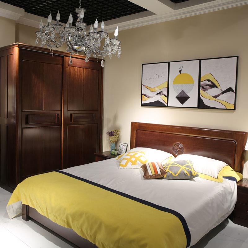 民用实木卧室套房双人床衣柜 05#