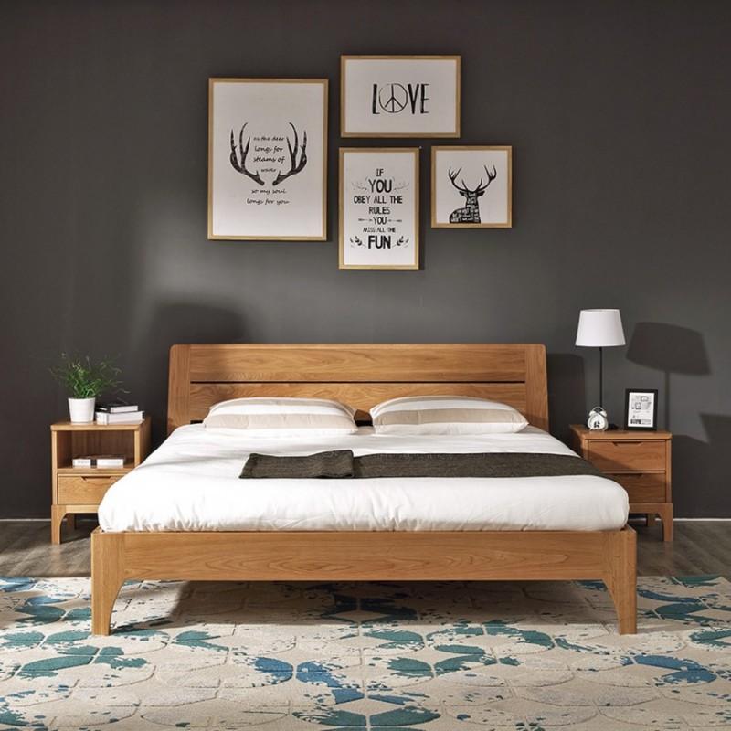 优木良匠淳系列北欧风卧室实木大床A06T8床头柜