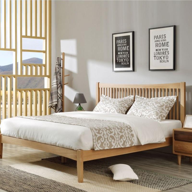 优木良匠淳系列北欧风卧室实木大床床头柜衣柜A08T8+A07T1+SF005