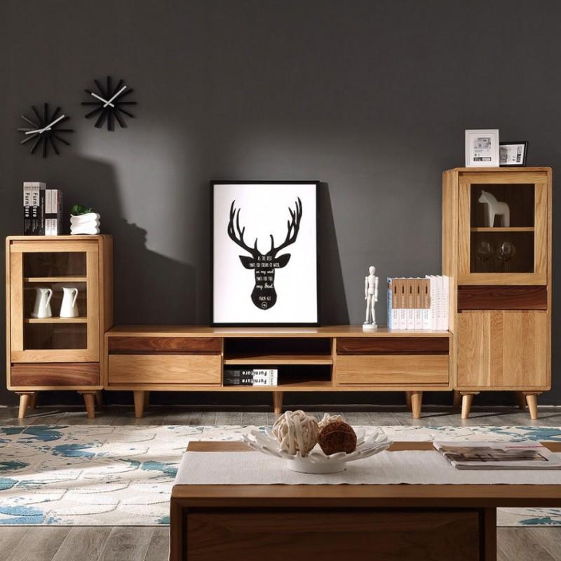 优木良匠淳系列北欧风客厅电视柜组合柜茶几边柜AN031+AN318+AN032