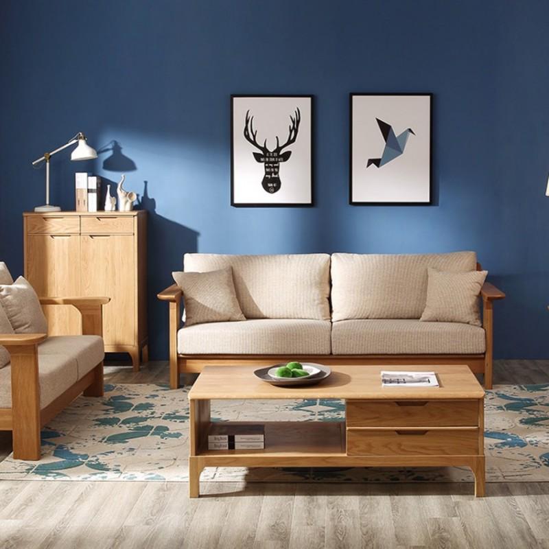 优木良匠淳系列北欧风客厅套沙发组合电视柜组合柜边柜茶几AE201+AF201A3+2+1+AX111