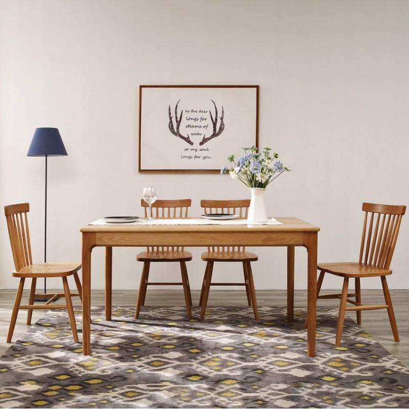 优木良匠淳系列北欧风餐厅餐桌椅AT001+AY006
