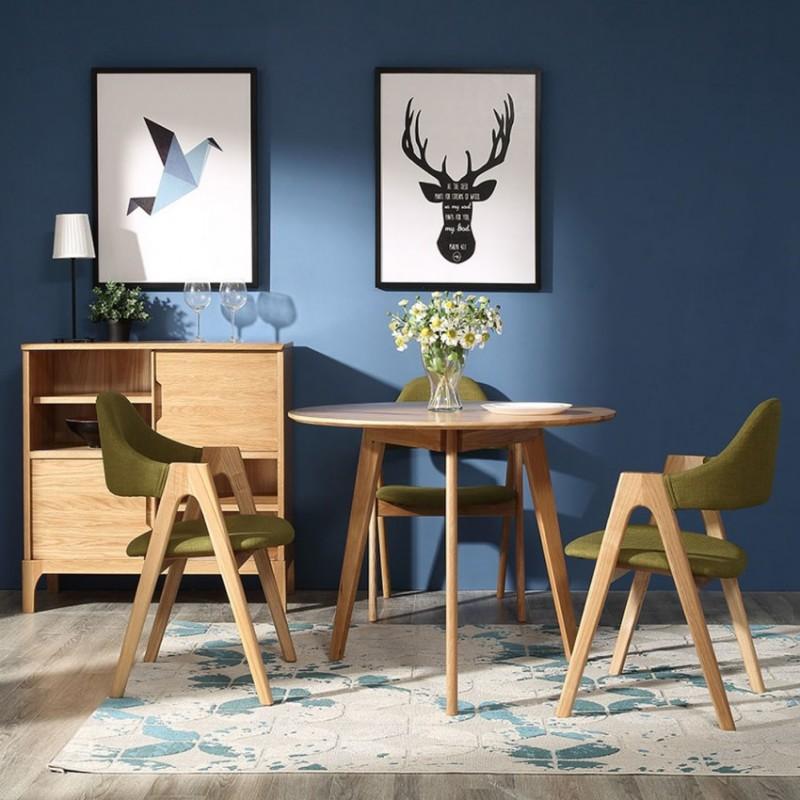 优木良匠淳系列北欧风休闲椅休闲几圆几边柜AG801+AY003+AT006