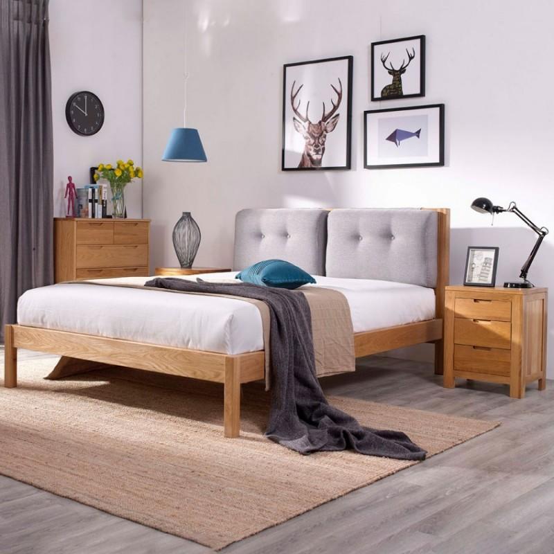 优木良匠淳系列北欧风卧室实木大床床头柜