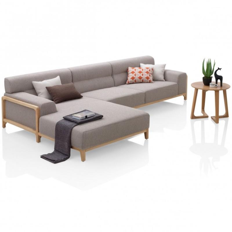 优木良匠淳系列北欧风客厅实木转角沙发组合1