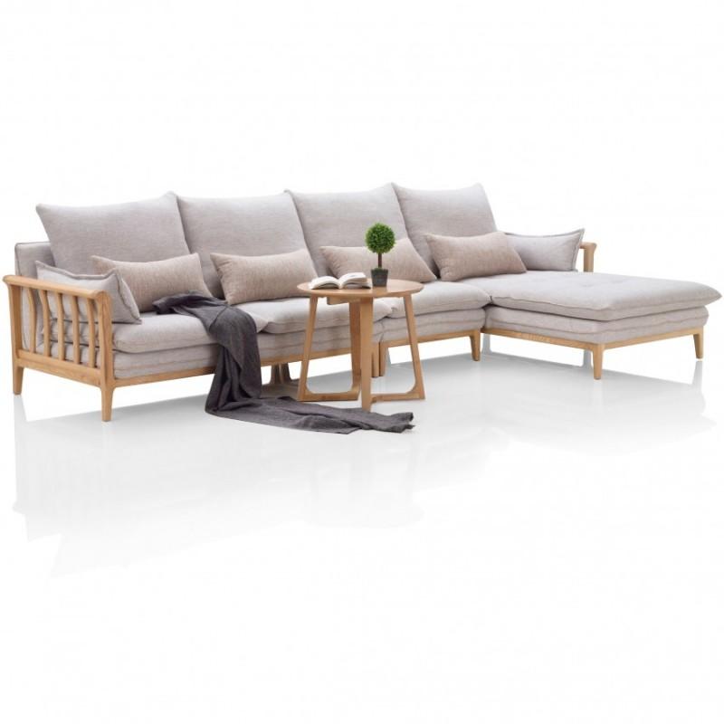 优木良匠淳系列北欧风客厅实木转角沙发组合3
