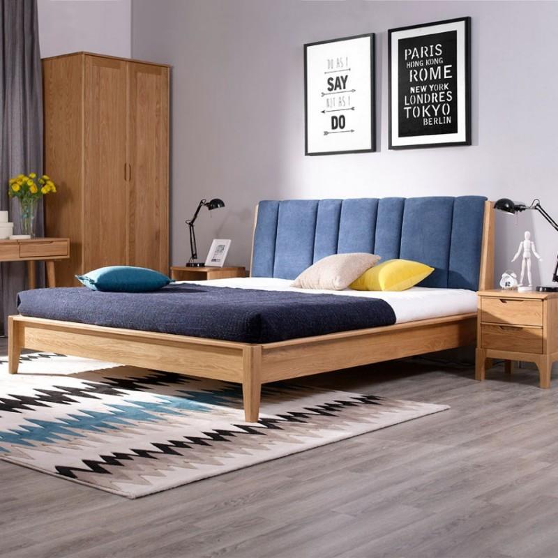 优木良匠淳系列北欧风卧室实木大床床头柜两门衣柜