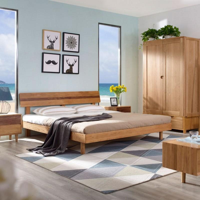 优木良匠淳系列北欧风卧室实木大床床头柜两门衣柜1