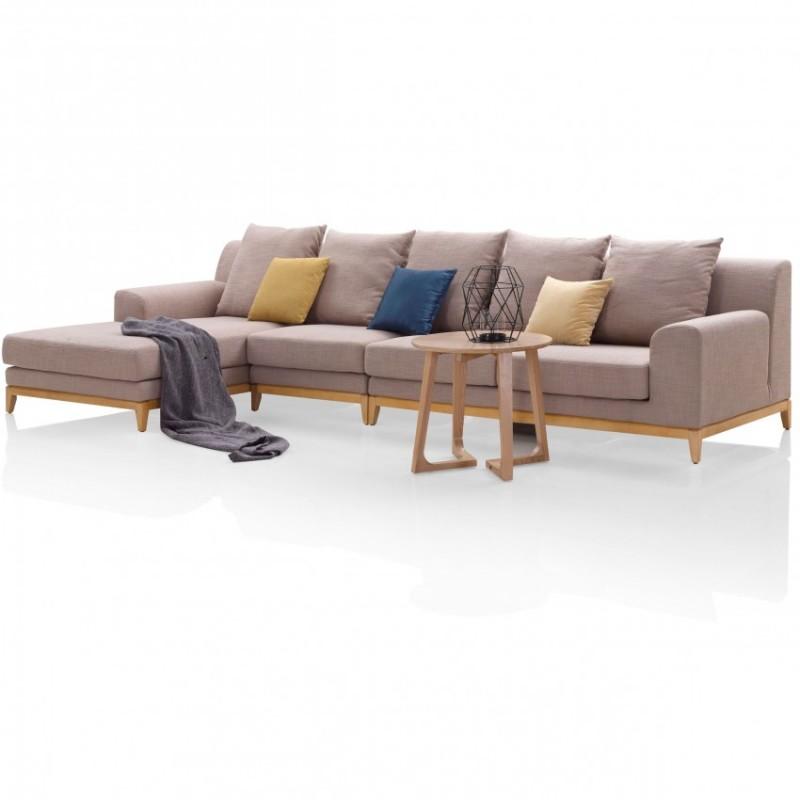 优木良匠淳系列北欧风客厅实木转角沙发组合4