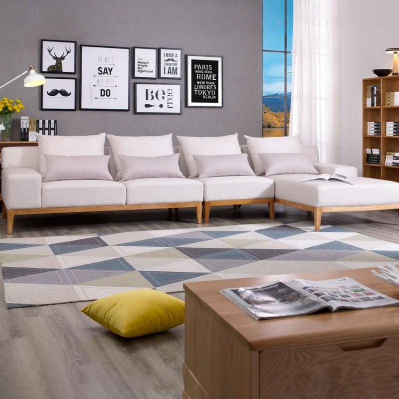 优木良匠淳系列北欧风客厅实木转角沙发组合5