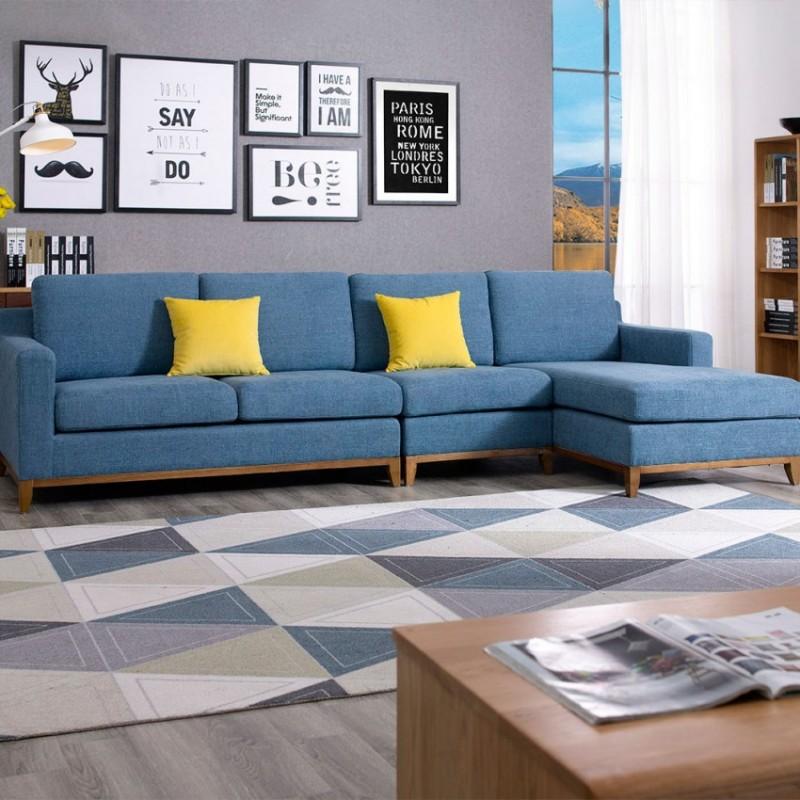 优木良匠淳系列北欧风客厅实木转角沙发组合6