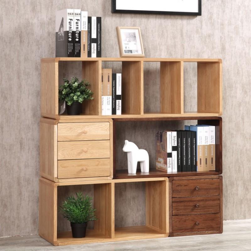 优木良匠淳系列北欧风书房书柜书架展示柜组合柜组合书柜BI+B2+C+D+E