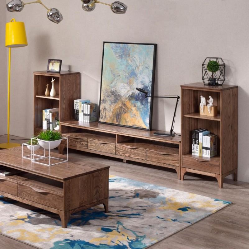 优木良匠朴系列北欧风实木家具客厅电视柜组合柜边柜