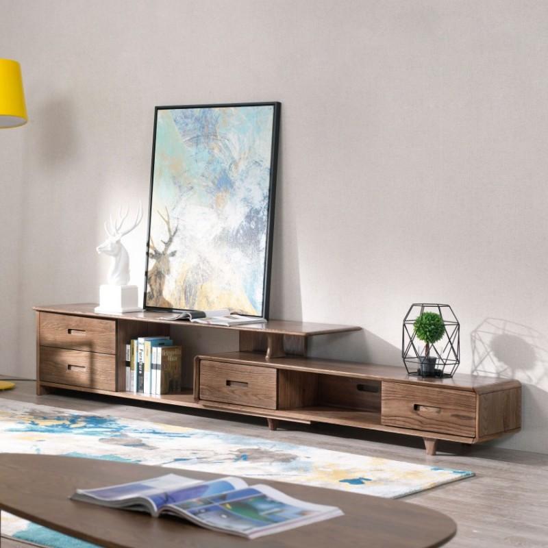 优木良匠朴系列北欧风实木家具客厅电视柜组合柜边柜1