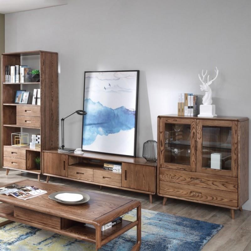 优木良匠朴系列北欧风实木家具客厅电视柜组合柜边柜2