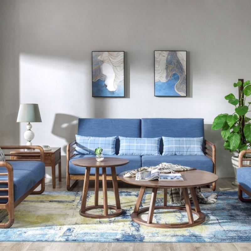优木良匠朴系列北欧风实木家具客厅沙发组合茶几