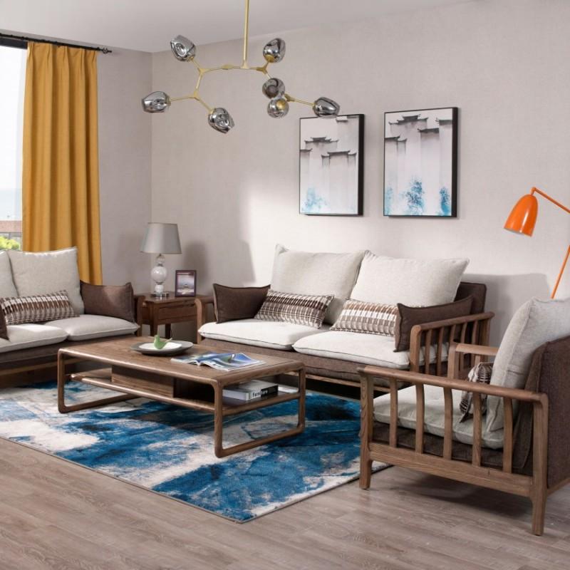 优木良匠朴系列北欧风实木家具客厅沙发组合茶几1