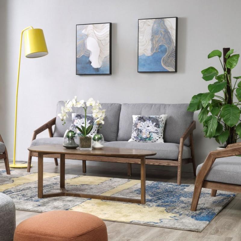 优木良匠朴系列北欧风实木家具客厅沙发组合茶几4
