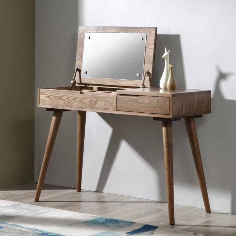 优木良匠朴系列北欧风实木家具卧室梳妆台妆镜