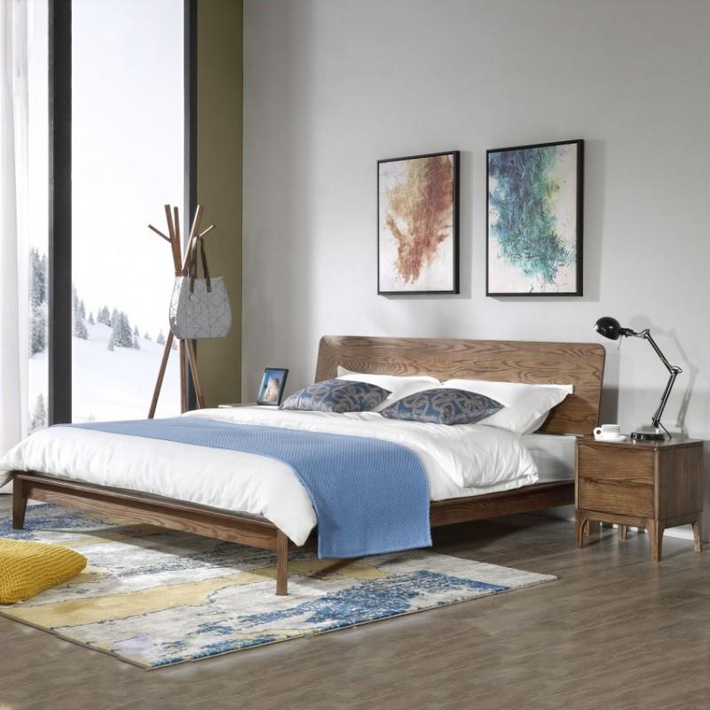 优木良匠朴系列北欧风实木家具卧室实木大床床头柜