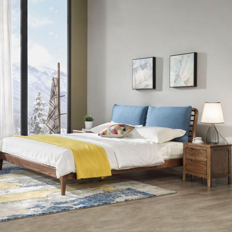 优木良匠朴系列北欧风实木家具卧室实木大床床头柜1