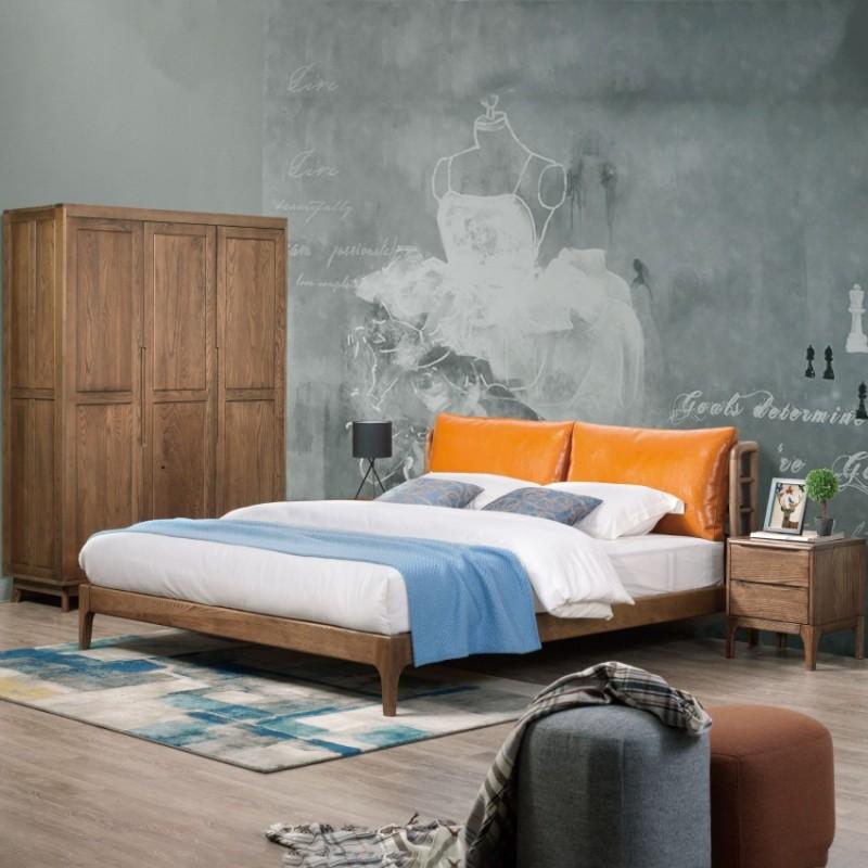 优木良匠朴系列北欧风实木家具卧室实木大床床头柜衣柜