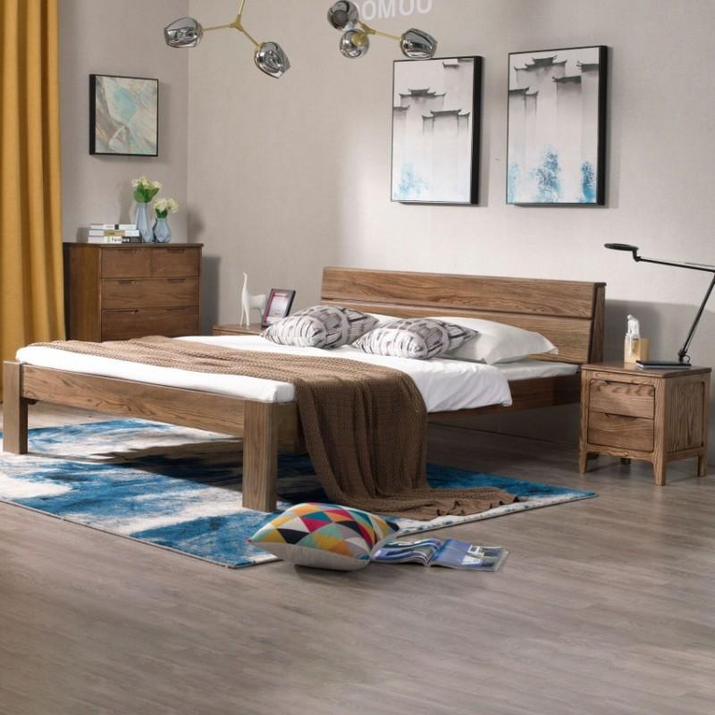 优木良匠朴系列北欧风实木家具卧室实木大床床头柜2