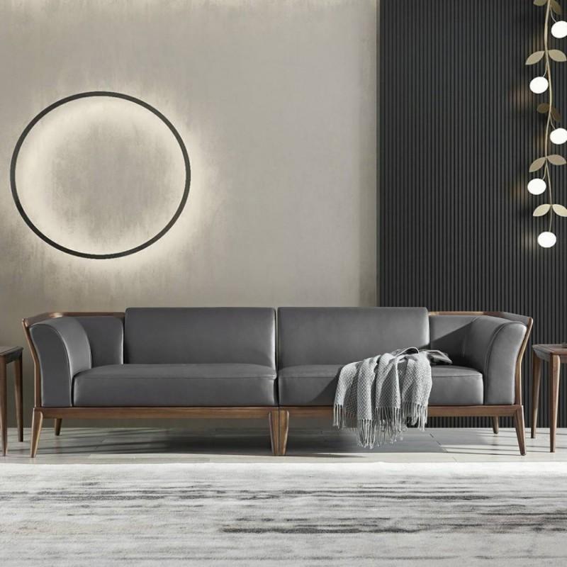 美林仕家德朗系列客厅沙发组合圆几角几茶几休闲椅DL711+DL803+816+819