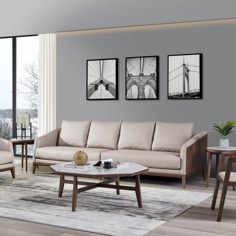 美林仕家德朗系列客厅沙发组合圆几角几茶几休闲椅DL708+DL806+DL403