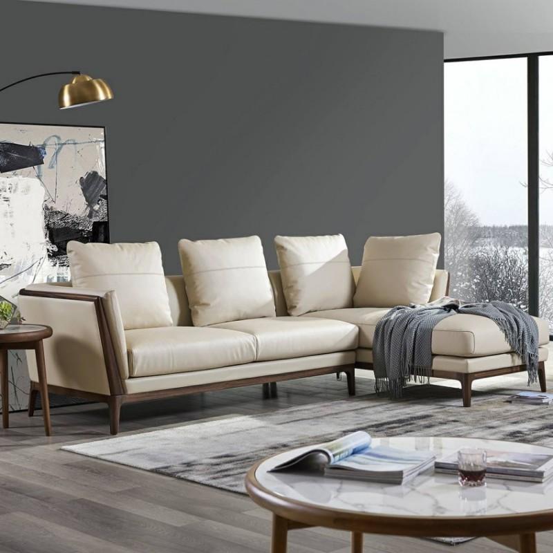 美林仕家德朗系列客厅沙发组合圆几角几茶几休闲椅DL701贵妃+三位