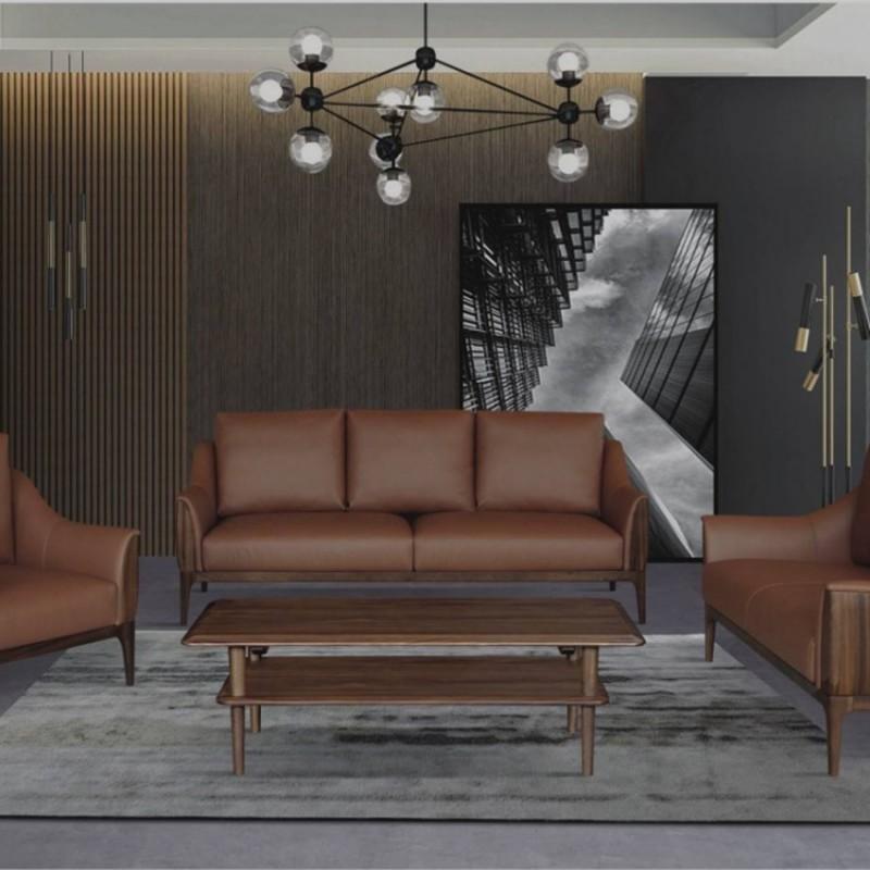 美林仕家德朗系列客厅沙发组合圆几角几茶几休闲椅DL722(1+2+3)