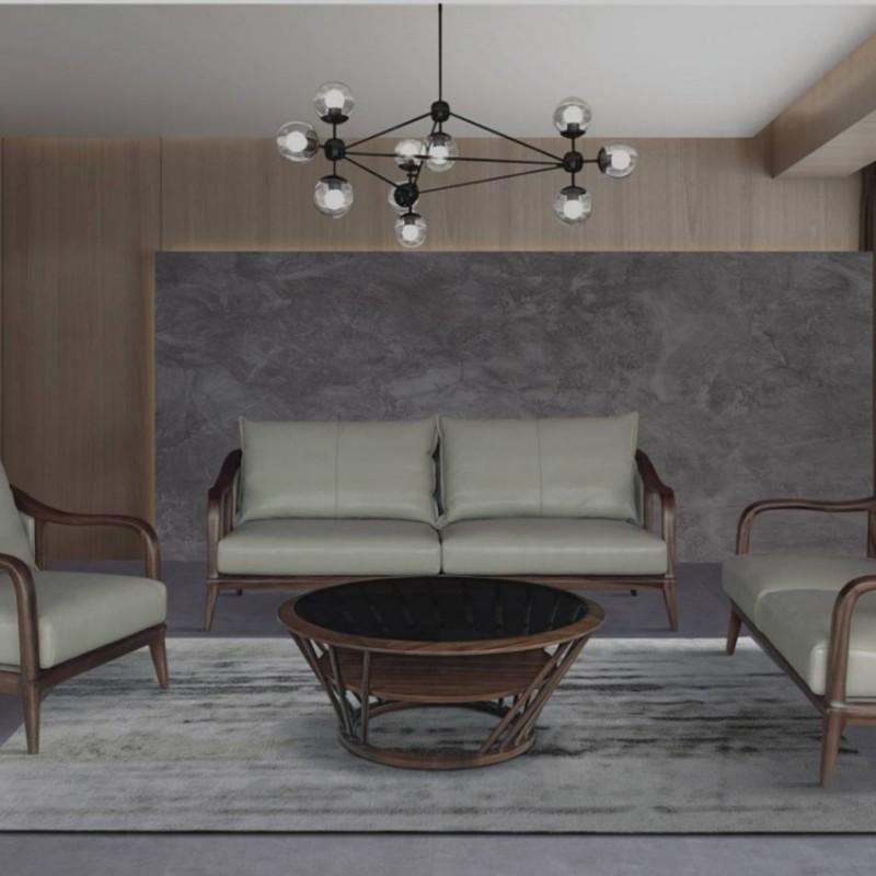 美林仕家德朗系列客厅沙发组合茶几圆几DL712(1+2+3)