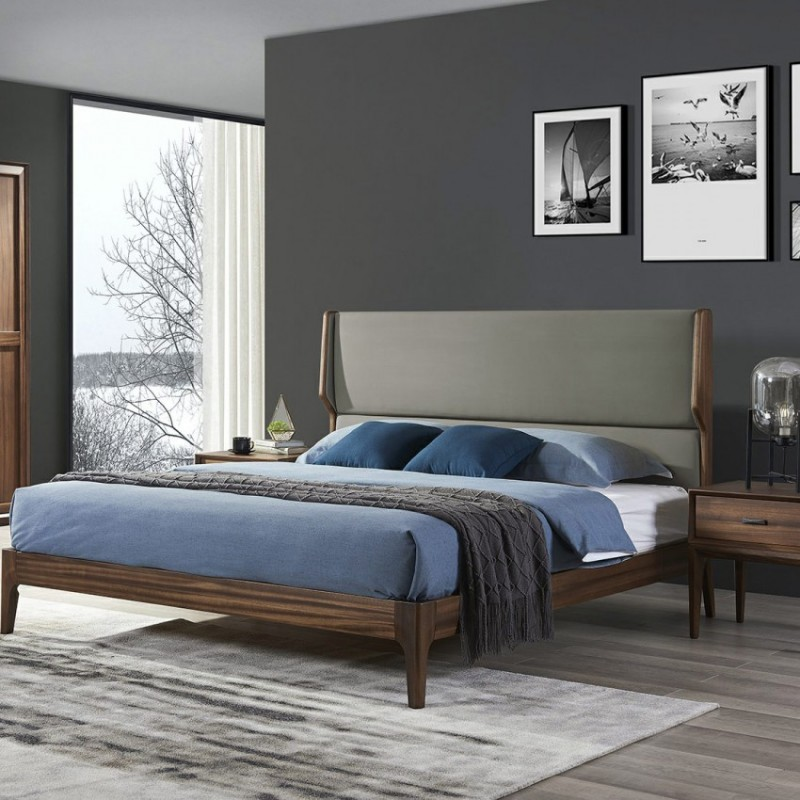 美林仕家德朗系列卧房实木大床衣柜床头柜DL102+DL202