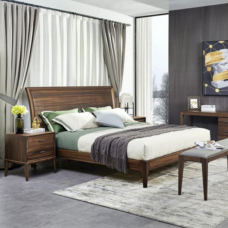 美林仕家德朗系列卧房实木大床床头柜床尾凳梳妆台DL101-8+203+821