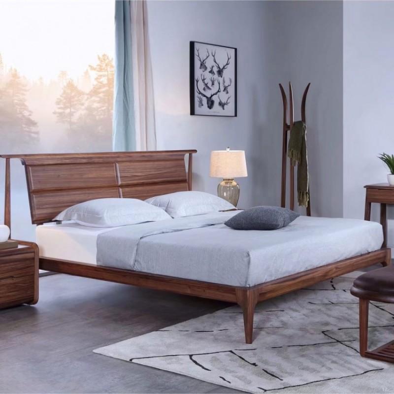 美林仕家朗博系列北欧风卧室实木大床床头柜床尾凳HL106+202+905