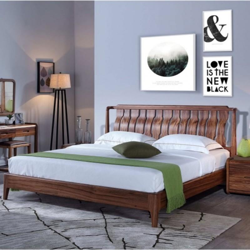 美林仕家朗博系列北欧风卧室实木大床床头柜床尾凳HL101+808+809+409