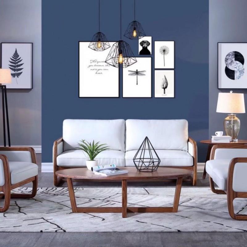 美林仕家朗博系列北欧风客厅沙发组合茶几圆几-HL704+811