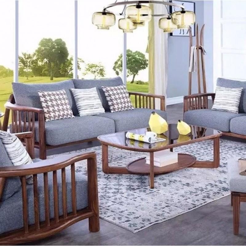 美林仕家朗博系列北欧风客厅沙发组合茶几圆几-HL701+804